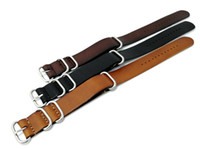 Wholesale Nato Leather Strap - 18 20 22MM Black Brown Genuine Leather Wrist Watch Band Nato Zulu Strap Stainless Steel Buckles