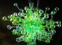 moderno lustre livingroom venda por atacado-100% Boca Soprado Vidro Murano Lustre de Arte LED Fonte de Luz Verde Murano Modern Art Designer de Lustre para Sala de estar Decoração