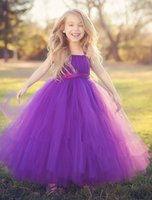 vestidos roxos da menina da flor da fita venda por atacado-Casamento roxo Vestidos De Meninas De Flores Para Casamentos Vestidos De Comunhão Para As Meninas Fitas Da Princesa Vestidos De Baile Vestido De Meninas Bonitas Pageant