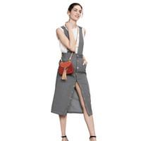 kalem etek çizgileri toptan satış-2017 Moda Yeni Kadın Cepler Siyah-Beyaz Stripes Yüksek Bel Midi Kalem Tulum Casual Askı Etek