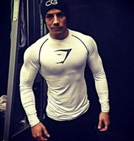 Wholesale Elastic Body Shirt - Muscle fitness brothers t-shirt men exercise tight clothing compression elastic body sculpting breathable quick dry long sleeved kancye