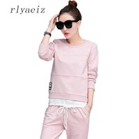 Wholesale Sports Hoodie Set Piece - RLYAEIZ Fashion 2 Piece Set Women Solid Color Tracksuits 2017 Plus Size Slim Two Piece Hoodies +Pant Sets Casual Sporting Suits