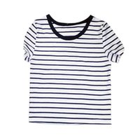 Wholesale Bare Midriff - Wholesale- Sexy Women Classic Cotton Tees Striped Bare Midriff Crop Tops T-shirt Summer Slim Fit Shirt
