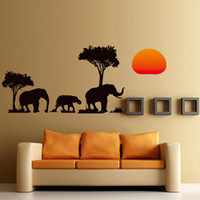 fil 3d çıkartmaları toptan satış-Toptan DIY Ev Dekorasyonu Çıkarılabilir 3D Yeni Afrika Fil Duvar Çıkartmaları Odası Su Geçirmez Duvar Kağıtları ücretsiz kargo