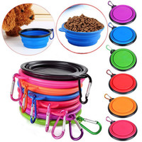 Silicone Folding Pet Bowl com Climbing Clip Gancho Dog Feeding Bowl Gatos dobráveis ​​Water Dish Alimentador portátil Puppy Travel Bowls