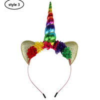 Wholesale Felt Hair Bands - Glitter Metallic Unicorn Headband,For Girls And Kids 2017 DIY Felt Unicorn Horn Hair band,Unicorn Party Hair Accessories 3pcs