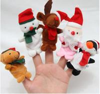 Wholesale Cute Penguin Plush Toys - Cute Christmas Finger Puppets toys Santa Bear Penguin Snowman Elk short floss Baby Hand Puppet toy Kids baby Finger Toy Storytelling props