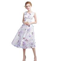 organza kanat satışı toptan satış-Metal Kanat Organze Rahat Plaj Parti Elbiseler Yeni Moda Bir Çizgi Diz Boyu Custom Made Çiçek Baskılı Homecoming Abiye En İyi satış
