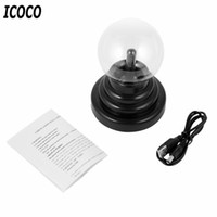 "Wholesale Plasma Crystal Ball - Wholesale- ICOCO 3"" USB Plasma Ball Electrostatic Sphere Light Magic Crystal Lamp Ball Desktop Lightning Christmas Touch Sensitive Lights"