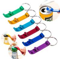 anahtarlık oyma toptan satış-Yeni Mutfak Araçları karışık renkler anahtarlık ile Alüminyum alaşım şişe açacakları, lazer oyma logosu şişe Açacakları I116