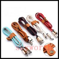 leder-kabel großhandel-PU-Leder-Metallkopf-Schnellaufladekabel 1M 3ft Micro-USB für Samsung S7 bewegliches Luxuxkabel