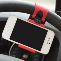 Wholesale New Car Steering Wheel Phone - 2017 New Universal Car Kit Steering Wheel Type Mobile Phone Holder Adjustable Mobile Phone GPS Holder