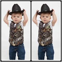 Wholesale Wedding Vests For Boys - 2017 Custom Camo Boy's Formal Wear Camouflage Real Tree Satin Vest Cheap Sale Only Vest For Wedding Kids Boy Formal Wear