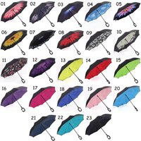Wholesale Windproof Umbrellas Reverse Folding Double Layer Inverted Chuva Umbrella C Hook Hands For Car Sunny Rainy Self Stand Protection
