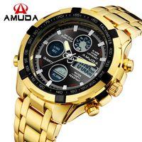 Wholesale Men S Watches Alarm - s Quartz Wristwatches Fashion Mens Sport Watch Led Gold Big Face Quartz-Watch Men Waterproof Wrist Watch Male Watches Clock relogio mascu...
