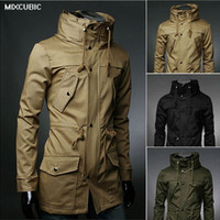 xxl yüksek yaka ceketi erkek toptan satış-Toptan Satış - MIXCUBIC yeni İngiltere tarzı Yüksek yaka ceket trençkot erkekler ordu yeşil İş rahat ince Rüzgarlık erkekler için ceket ceket M-XXL