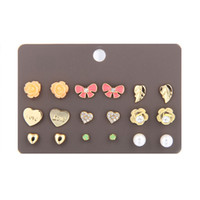 Wholesale Cute Rhinestone Cross Earrings - 6 pair set newest korean cute fashion stud earrings for young girl flower crown cross love leaf butterfly stud ear rings
