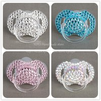 Wholesale Dummy Hands - Wholesale-Special price 4 color shining hand made bling crystal rhinestone Baby Pacifier  Nipples  Dummy  cocka  chupeta &pacifier clips