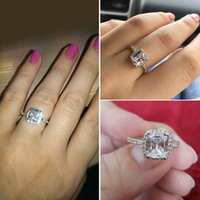 Wholesale Elegant Shows - Fashion Show Elegant Temperament Jewelry Womens Girls White Silver Filled Wedding Ring