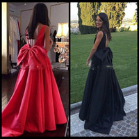 Wholesale Cheap Import Dress - Lovely Bow Prom Dresses 2017 Sexy Open Back A line Satin Imported Party Gowns Scoop Simple Formal Gowns Cheap Price vestido longo