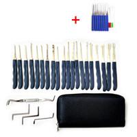 Wholesale Broken Key Tools - Klom Lock Picks Broken Key Extractor Tools + 24pcs Hook GOSO Door Lock Pick Set Door Key Pick Set Locksmith TOOLS With Leather Bag