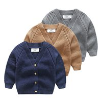 Wholesale Boys Sweaters Wool - 2017 Boys Knit Sweaters Kids Boys Knitting V-neck Cardigan Babies Autumn Button Outwear childrens clothing
