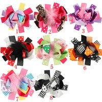 Wholesale Infant Flower Hair Clips - Children Girls Newest Bows Baby Feather Hair Clips Cute Infant Flower Clip Hairpin Hairgrips Kids Hairpin Hair Accessories