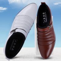 Wholesale Oxford Sandals Shoes - summer sandals men luxury brand slip on oxford shoes for mens pointed toe dress shoes leather wedding shoes man italy black white