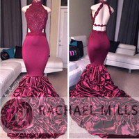 Wholesale Long Ruched Halter Gown - 2017 New Mermaid Burgundy Long Prom Dresses With Lace Appliqued Sleeveless Open Back Sequins Ruffled Sweep Train Evening Party Gowns