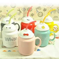 Atacado- 1pcs Criativo Cute Cartoon Straw Ceramic Mug com colher de tampa Fruit Coffee Cup Grande Capa Cup Kid's Gift