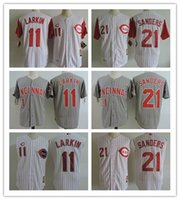 Wholesale Xxl Vests Men - Cincinnati Reds Barry Larkin Jerseys 21 Deion Sanders White Vest Pinstirpe 1995 Throwback White Gray Cooperstown Sleeveless Baseball Jerseys