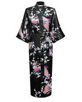 mano kimonos al por mayor-Al por mayor-Mujeres Nueva llegada Robe Plum Size Estilo chino Kimono hecho a mano pintado Kaftan Robe vestido bata de dormir ropas S-3XL RB02148