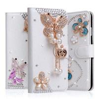 Wholesale M7 Phone Case - For HTC M8 M8 mini M7 M9 M9+ Luxury rhinestone flower butterfly Wallet style bling Diamond DIY crown phone case