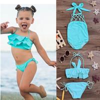 Wholesale Swimsuit Girls Child - Wholesale- ITFABS children swimwear falbala girls swimwear baby kids biquini infantil swimsuit bikini girl 2017 New summer bathing suit