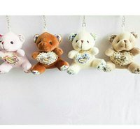 Wholesale wedding soft teddy bears - 9cm Printing Heart Teddy Bear Cartoon Stuffed Toy Plush Toy Pendant Bag Keychain Car Key Holder for Bag Hanging Wedding Christmas Gift