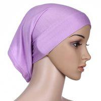 Wholesale New Style Hijab Scarf - 2018 Fashion New Style Mercerized Cotton Muslim Inner Hijab Caps Islamic Underscarf Hats Hijab multi colors