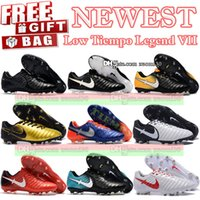 Wholesale Soccer Bag Leather - New Arrived Tiempo Legend VII FG Soccer Shoes Mens Tiempo Football Boots Original Top Quality Tiempo ACC Soccer Cleats Gift Bag