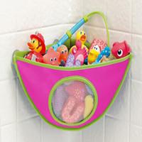 ingrosso cestini per vasca da bagno-All'ingrosso- Bambino Bagno Mesh Bag Bath Toy Bag Net Cestini a ventosa Home Hanging Makeup Cosmetic Bags MU879480
