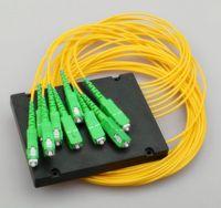 Wholesale Fiber Optic Modules - Telecom Standard PLC SC APC 1X8 Fiber Splitters Box Type ABS Module Fiber Optic PLC Splitter 1:8 LOW Inserstion Loss