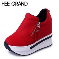 Wholesale Wedge Creepers - Wholesale-HEE GRAND Wedges Women Boots 2016 Platform Shoes Woman Creepers Slip On Ankle Boots Fashion Flats Casual Women Shoes XWD4722