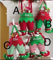 Wholesale Wholesale Sell Christmas Elves - Free shipping 2017 new arrival hot selling Christmas elf pants stocking candy bag kids gift 4 styles stocked Christmas stocking wholesale