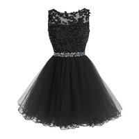 Wholesale Gold Rhinestone Homecoming Dress - Sweet 16 Short Prom Dresses Lace Appliques with Crystal Beads Rhinestones Puffy Tulle Party Dresses Little Black Graduation Homecoming Gowns