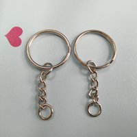 Wholesale Coin Key Rings - Wholesale Metal Split Keychain Ring Parts - 50 Key Chains With 25mm Open Jump Ring and Connector