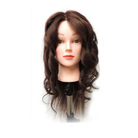"""Wholesale Free Hair Cosmetology Mannequins - 22"""" 100% Synthetic Hair Hairdressing Cosmetology Mannequin Manikin Training Head Model With wig + Clamp Free Shipping"""