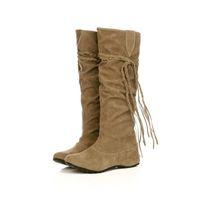 Wholesale Brown Fringe Boots - Wholesale-New Women Boots Autumn Winter Fringe Half Knee High Boots Ladies Tassel Fashion Shoes Woman Bota Feminina Plus Size 34-43 WSH762