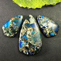 yl036 3шт Blue Sea Sediment JasperPyrite подвеска из бисера DIY Jewelry Making Stone