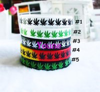 Wholesale Silicon Bracelets Printing - Hot Sale! 50pcs lot Maple Leaf Jamaica Bracelet, Classic Printed Hip Hop Silicone Wristband, Promotion Gift, Silicon Wristband