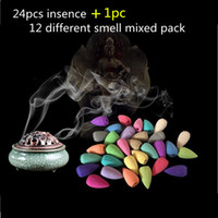 Wholesale Incense Mix - Wholesale- 24+1pcs lot hot natural Incense,Cone Colorful Fragrance Scent Incense,Mixed Scent Fresh Air Jasmine Insence for air cleaning