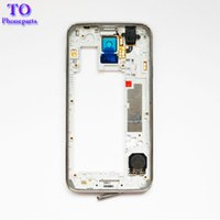 Wholesale Bezel Frame - 100pcs LCD Middle Plate Housing Frame Bezel Camera Cover Replacement parts For Samsung Galaxy S5 G900F G900M G900H G900A G900V G900T