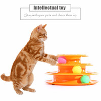 Wholesale Play Tracks - Funny Cat Pet Toys Intelligence Triple Play Three Levels Tower Tracks Disc Balls Intelligence Amusement Rides Shelf Pet Supplies